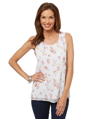 Women's sleeveless floral blouse, casual or work top.