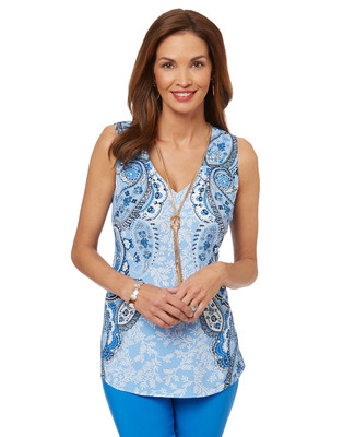Women's sleeveless v neck top in a mirrored paisley print.