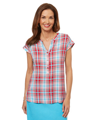Women's casual short sleeve plaid shirt with cap sleeves in Canada Red.