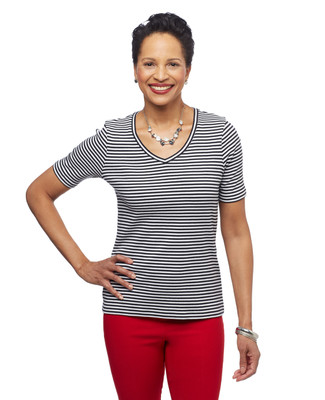 Women's stripe cotton v neck tee