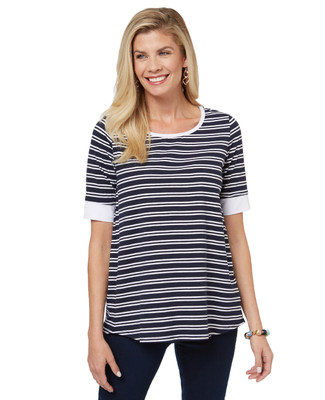 Women's striped t shirt with a lace up back detail.