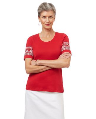 Women's scoop neck graphic t-shirt.