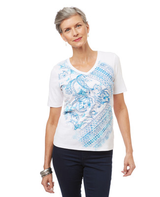 Women's v-neck graphic tee in a paisley print.