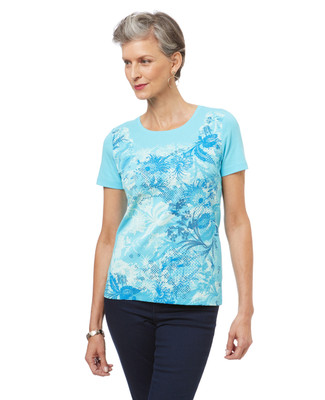 Women's cotton graphic tee in a floral print.