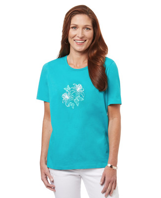 Women's graphic cotton t-shirt with butterfly print.
