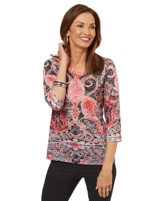 Women's Canadian-designed paisley print top.