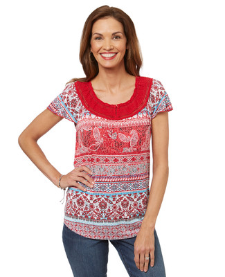 Women's red peasant top with lace.