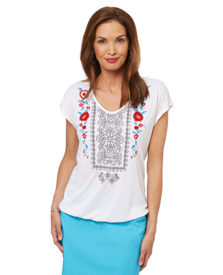 Women's embroidered cap sleeve top.