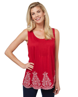 Women's sleeveless embroidered top with a scalloped hem.