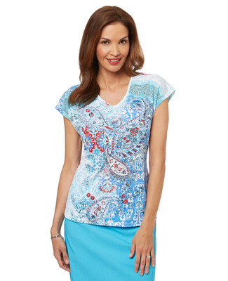 Women's v neck t shirt in a summer paisley print.