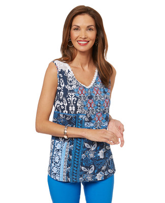 Women's patchwork tank with lace neckline