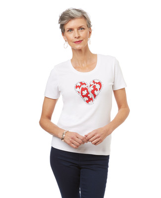 Women's white graphic tee with flip flop and maple leaf print