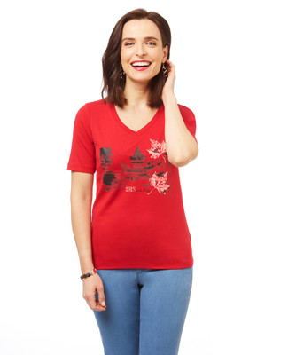 Women's Canada flag graphic tee for Canada day