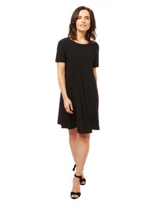 Women's black short sleeve t shirt dress with a button accent.