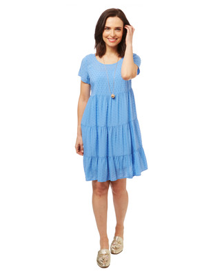 Women's tiered swiss dot babydoll dress in a light blue.