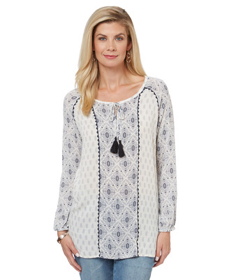 Women's embroidered boho-style peasant top.