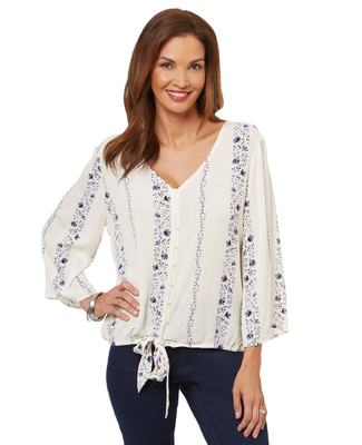 Women's floral tie-front blouse with a flowy boho look.