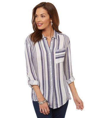 Women's striped button up blouse