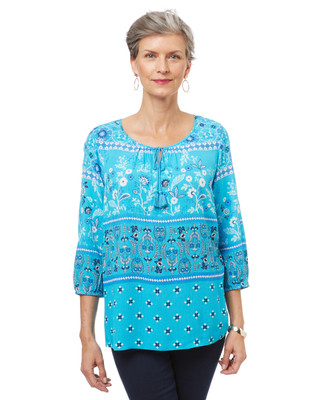 Women's boho-style peasant blouse in turquoise