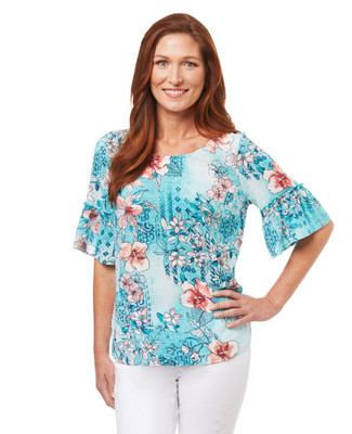 Women's swiss dot top in Hawaiian floral print with ruffle bell sleeves