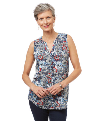 Women's floral print sleeveless button up blouse