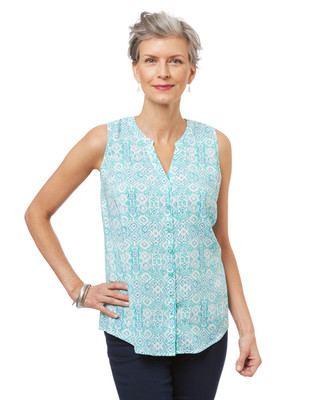 Women's sleeveless summer blouse in a seagreen geometric print