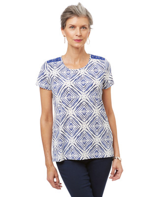 Women's blue and white tribal print t-shirt