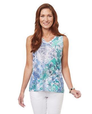 Women's sleeveless v neck top with grommet details on the neckline