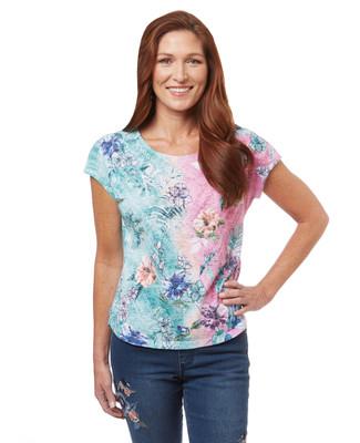 Women's petite floral print sublimated t-shirt in a gradient colour