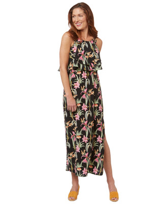 Women's black floral tropical print maxi dress