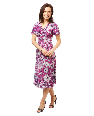Women's midi length purple and white floral print summer dress.