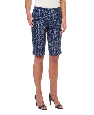 Women's summer bermuda shorts in a ditsy floral print on navy