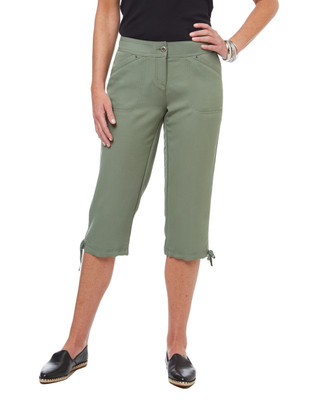 Women's capri cargo pants with tie bottom
