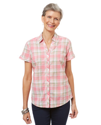 Women's button up plaid shirt with short sleeves