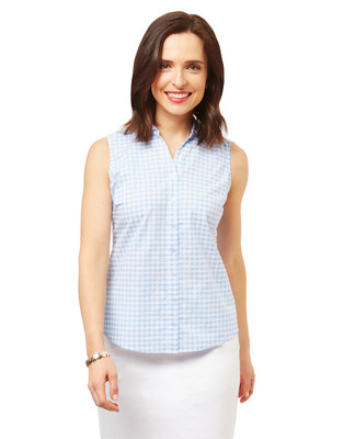 Women's blue sleeveless swiss dot gingham shirt