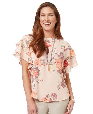 Women's peach floral print ruffle short sleeve blouse