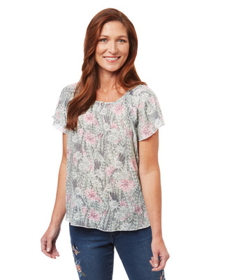 Women's flutter sleeve blouse in a mixed cactus flower and feather print
