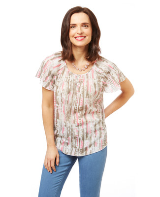 Women's flowy blouse top in a printed fabric with flutter sleeves