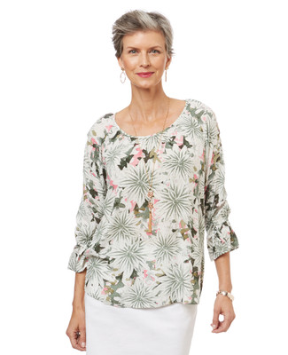 Women's sage green printed peasant top with bell sleeves