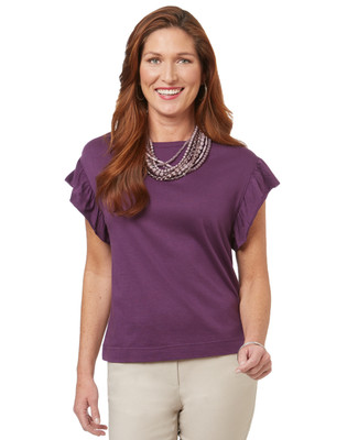 Women's short sleeve ruffle top