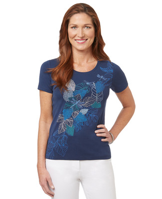 Women's royal blue cotton leaves print scoop neck t-shirt