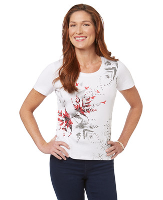 Women's white flying geese red leaves graphic scoop neck t-shirt