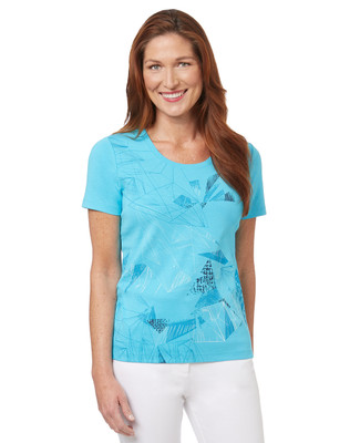 Women's turquoise cotton abstract geometric graphic t-shirt