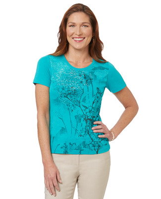 Women's green cotton brushed floral graphic t-shirt