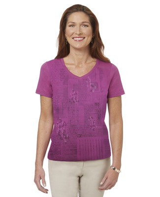 Women's purple geometric graphic print V neck t-shirt