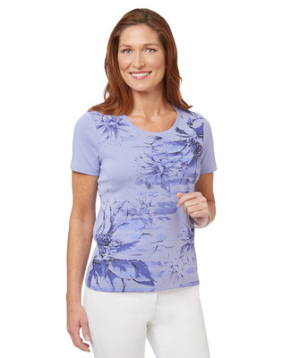 Women's purple flower print  t-shirt with a honey bee