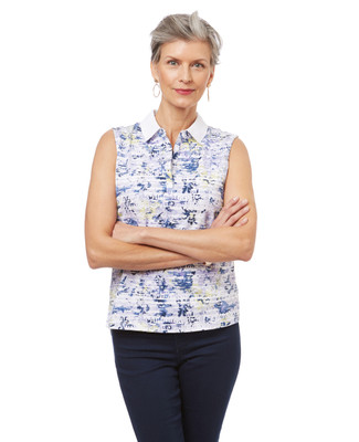 Women's sleeveless polo shirt in a summer print