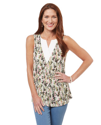 Women's sleeveless peplum blouse in a summer floral print