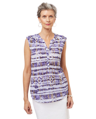 Women's sleeveless top in a burnout tribal print