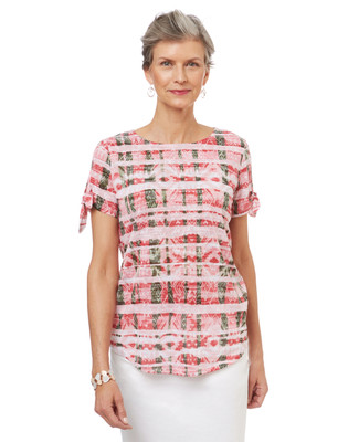 Women's burnout tee in a pink print with tie sleeves